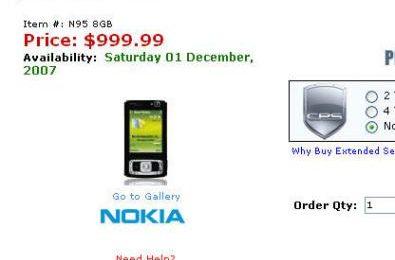 Nokia N95 8 GB a Dicembre ecco il prezzo!