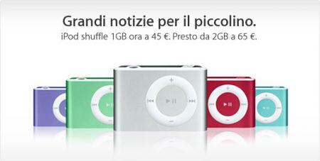 iPod Shuffle 1GB a 45 Euro, in arrivo da 2GB