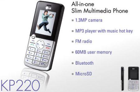 LG KT220: sottile multimedialità