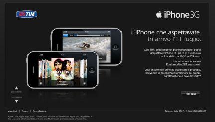 iPhone 3G Tim: prezzi ufficiali
