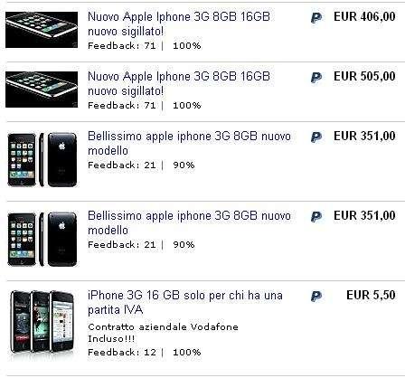 iPhone 3G: su eBay si scatena l'asta