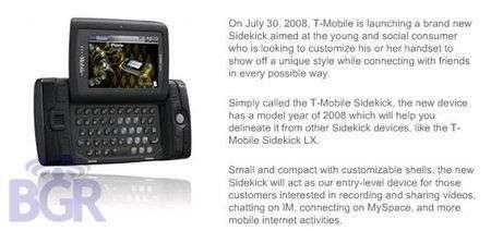 T-Mobile Sidekick 2008 il 30 Luglio