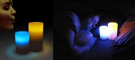 Candele LED che si accendono con un soffio