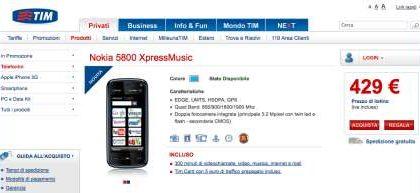Nokia 5800 XpressMusic anche con Tim, ecco il prezzo