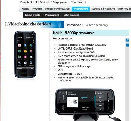 Nokia 5800 XpressMusic con H3G (Tre)