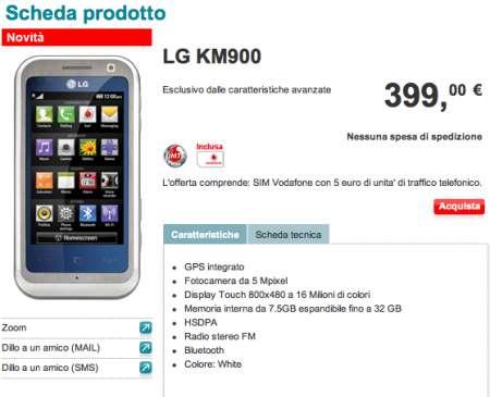 Lg KM900 Vodafone prezzo