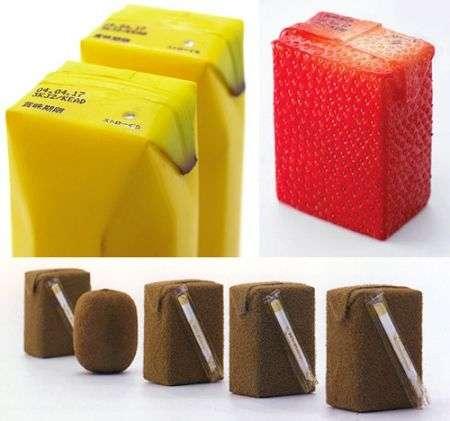 Tetrapak dei succhi con forma del frutto