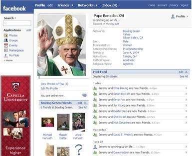 Il Papa su Facebook