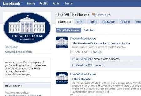 Casa Bianca sempre più social