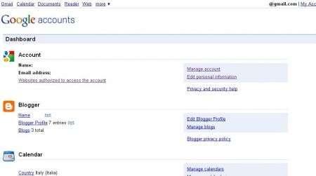 Google Dashboard: tutto ciò che Google sa di te, in una pagina