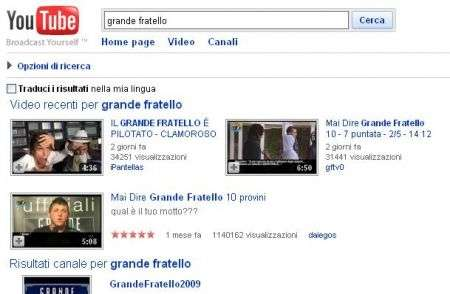 Grande Fratello su Youtube: via tutti i video
