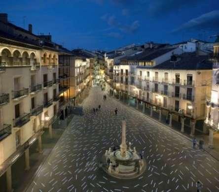 Arte LED a Plaza del Torico a Teruel in Spagna