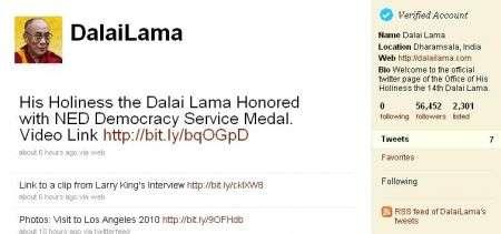 Dalai Lama su Twitter, per davvero!