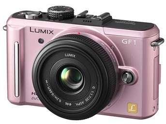 Fotocamera Panasonic Lumix GF1 in rosa e silver