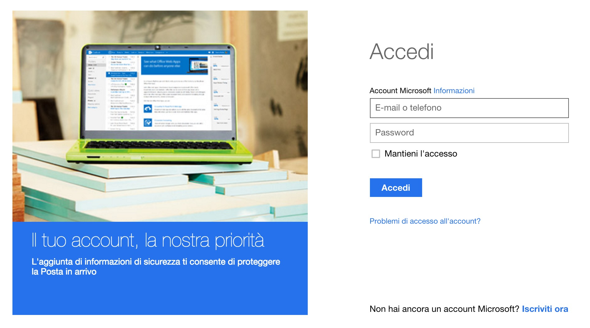 Account Microsoft MSN, Hotmail e Live