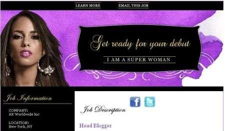 Alicia Keys cerca un blogger su Monster.com