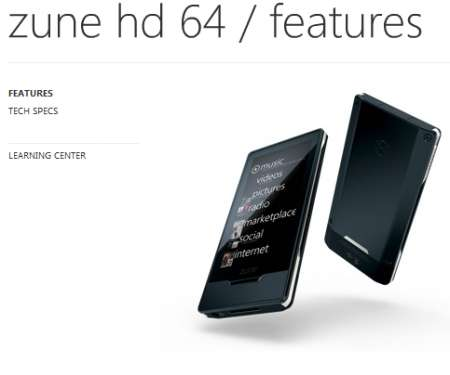 Zune HD 64GB ufficiale
