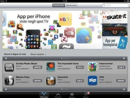 App Store e iBookstore per iPad in italiano