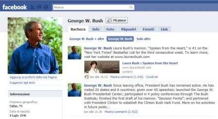 George W. Bush sbarca su Facebook