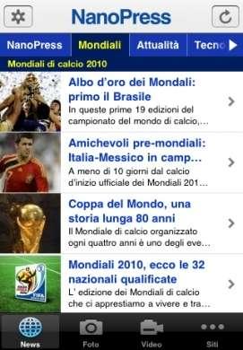 Mondiali di Calcio 2010 sull'app Nanopress per iPhone