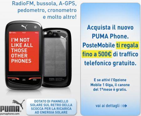 Puma Phone con PosteMobile, con fino a 500€ di traffico bonus