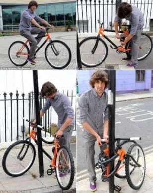 Bicicletta che si annoda al palo: prova a rubarla!