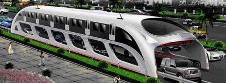 Autobus 'ponte' hitech cinese che viaggia sopra le auto, video!