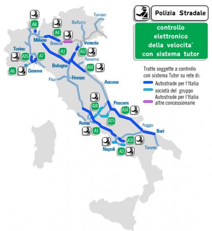 Tutor Autostrade: mappe dei sistemi attivi in Italia