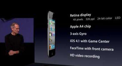 Nuovo iPod Touch 4G: doppia fotocamera, Retina Display e tanto altro
