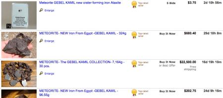 Su eBay i frammenti del meteorite rubato in Egitto