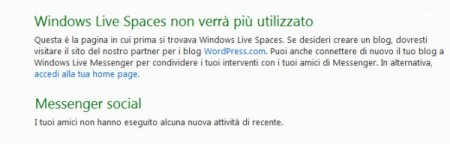 Windows Live Space chiude e suggerisce WordPress
