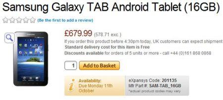 Samsung Galaxy Tab prezzo del tablet Android