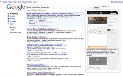 Google: anteprime grafiche dei siti ricercati, in tempo reale