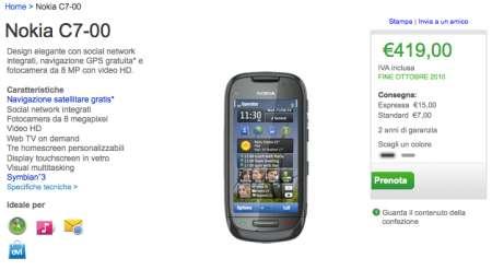Nokia C7 preordinabile sullo Shop ufficiale, ecco il prezzo
