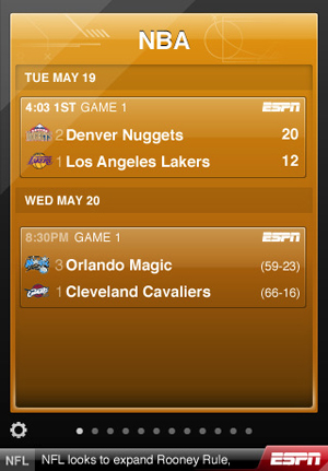 ESPN Score Center iphone