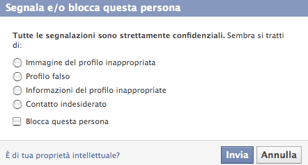 segnala blocca persona facebook