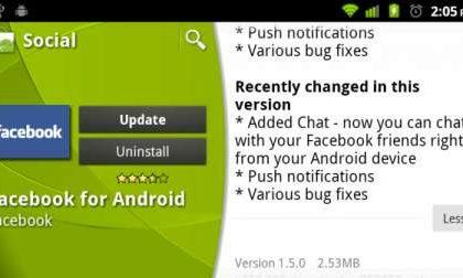 Facebook per Android: chat e notifiche push con l'aggiornamento