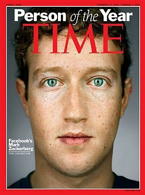 Facebook: Zuckerberg uomo dell'anno Time 2010, ma online vince Assange