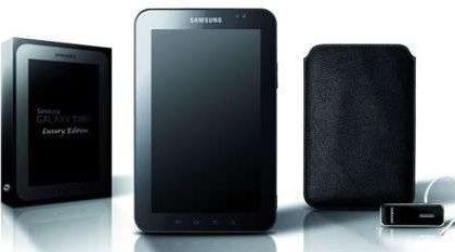 Samsung Galaxy Tab Luxury Edition con custodia di pelle e auricolare Bluetooth