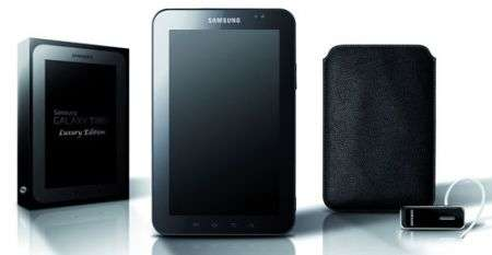 Samsung Galaxy Tab Luxury Edition con custodia di pelle e auricolare Bluetooth