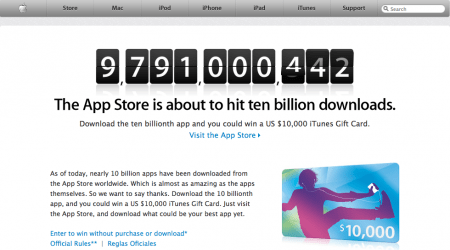 iTunes App Store verso i 10 miliardi di download, ricco premio in regalo