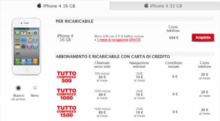 iPhone 4 Bianco con TIM prezzi e uscita