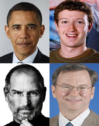 Zuckerberg, Jobs e Schmidt a cena da Obama