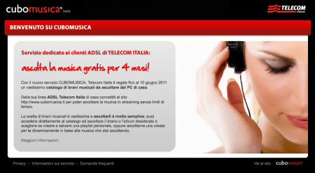 Musica in streaming con Telecom Cubo Musica