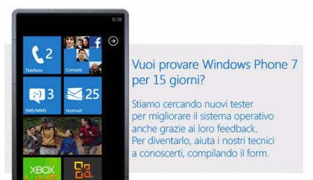 Windows Phone 7: proponiti per provarlo come tester