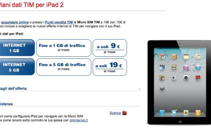 iPad 2 Tim: i piani tariffari e i costi