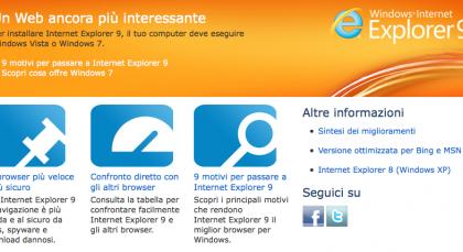 Internet Explorer 9 download disponibile del browser
