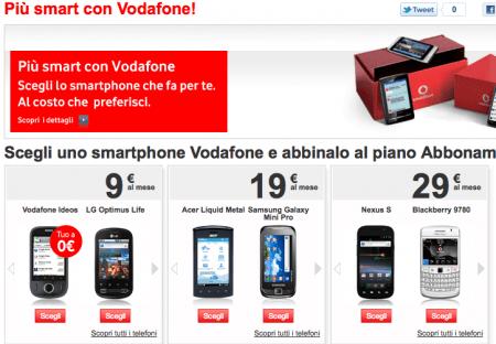 smartphone vodafone abbonamenti