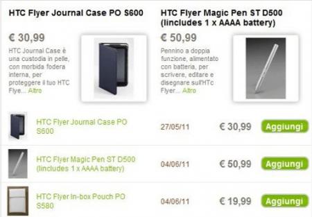 HTC Flyer: prezzi degli accessori ufficiali