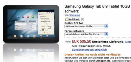 Il prezzo di Samsung Galaxy Tab 8.9 non stupisce, peccato